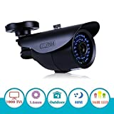 EWETON 1/3' 960H 1000TVL CCTV Home Surveillance Camera 3.6mm Lens 36PCS Infrared LEDs IR Cut 100ft Night Vision Indoor Outdoor Weatherproof Security Camera (Metal Housing Black)