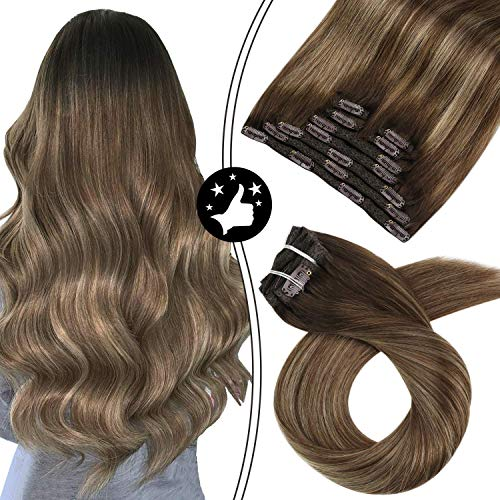 Moresoo 20 Zoll Clip in Hair Extensions Human Hair Thick Hair Extensions Balayage Color #3 Brown Fading to #6 Medium Brown and #16 Golden Blonde 9PCS 100g Double Weft Hair Clip Extensions Echthaar