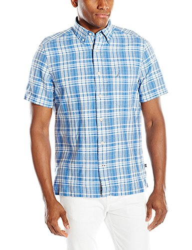 Nautica - Camisa de manga corta con bolsillo para hombre, me