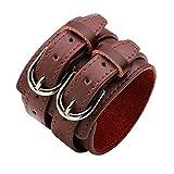 SJ-man's belt Cómodo Hebilla Doble Diseño de la Correa Simple para Hombre Pulsera de Cuero Pulseras Anchas Brazalete Brazalete Ajustable (Color : Marrón)