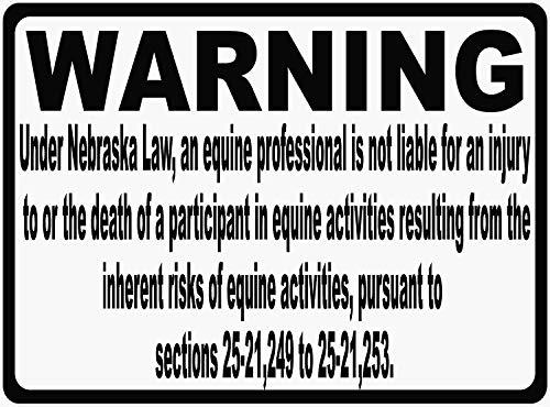 Letrero de lata Nebraska de responsabilidad equina Ley informar a los patronos en su instalación de montar a caballo de las reglas de su empresa. Cartel de aluminio de metal para pared, 20 x 3