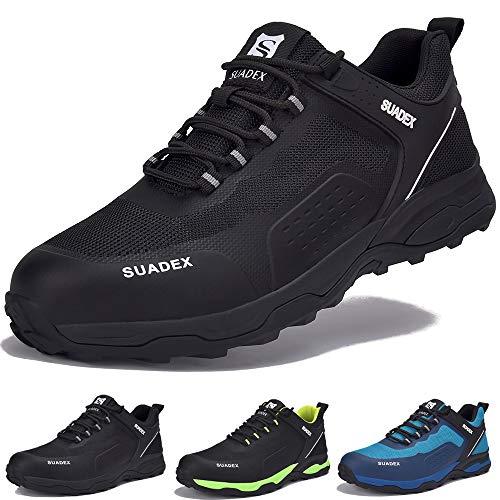 SUADEX Zapatos de Seguridad Hombre Mujer Ligero Zapatillas de Seguridad Hombre Trabajo Transpirables Zapatos de Trabajo Puntera de Acero Calzado Antideslizante Industriales,Negro,40EU