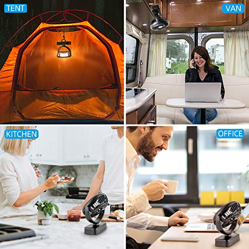 Amacool Portable Battery Camping Fan with LED Lantern - Rechargeable 4400mAh Battery Operated USB Desk Fan Kit with Hanging Hook for Tent Car RV Hurricane Emergency Outages