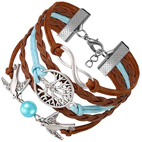 Flongo Pulseras de Hilos Trenzadas Infinito Infinity Brazalete Marrón Azul de Golondrinas Arbol de la Vida Pulseras para Mujer Chica Retro Chic