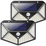 Luz Solar Exterior, Kilponen 100 LED Foco Solar Exterior Gran Ángulo PIR 120° con Sensor de Movimiento 2200mAh Lámpara Solar Impermeable Solares de Pared de Seguridad 3 Modos para Jardín [2 Paquete]