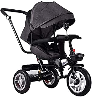 Children's tricycle baby folding trolley bike child stroller baby bike (Color : Brown) JB-Tong