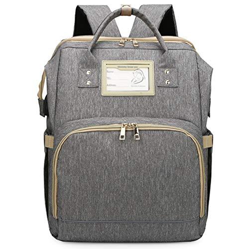 YT Bolsa de Pañales Mochila Bolsa de Pañales Multifunción con Cama Plegable y Colchón, Bolsas de Viaje para Pañales para Bebés de Gran Capacidad con Puerto de Carga USB, Impermeable,Gris