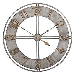 Hunter Garden Crafts Decorative Metal Wall Clock 23 (Silver)
