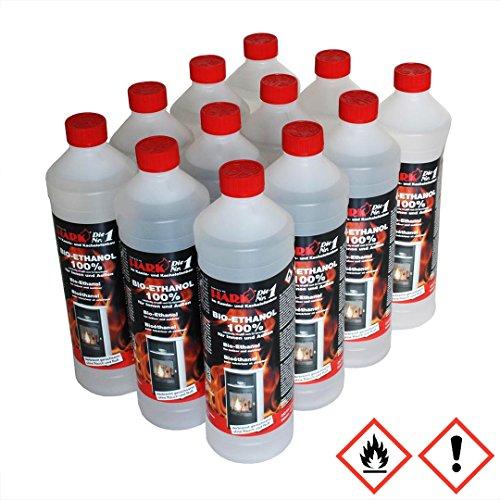 HARK Bio-Ethanol Brennstoff 12 x 1 Liter Flaschen 100% (3,58 EUR/Liter)