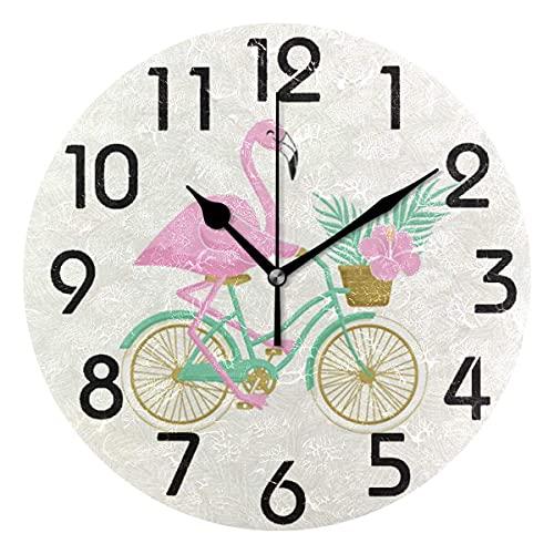 Hermoso Reloj de Pared Redondo con Forma de Flamenco en Bicicleta, Reloj de Escritorio silencioso analógico de Cuarzo con Pilas para el hogar, la Cocina, la Oficina, la Escuela