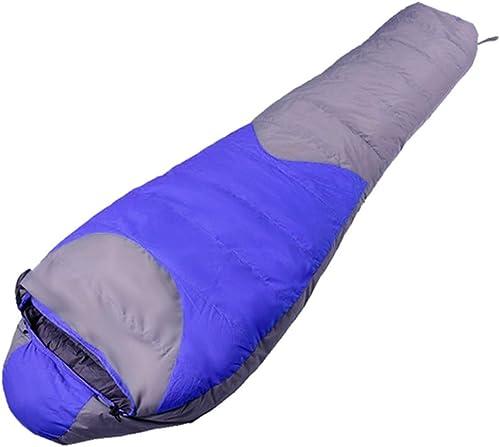 Karidesh Imperméable en Duvet Sac de Couchage en Duvet d'épaisseur Hiver Plein air Camping Sac de Couchage en Gros Momie (Couleur   bleu)