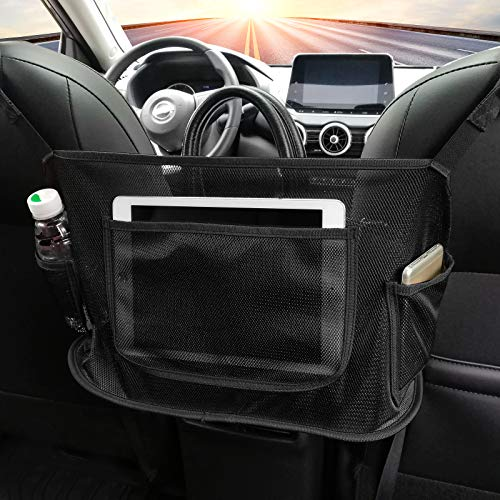 MOETYANG Car Net Pocket Handbag Holder, Net Car Purse Holder Between Seats, Mesh Large Capacity Pocket Bag for Purse Storage Phone Documents, Seat Back Rear Seat Organizer Fits Most Cars, Black