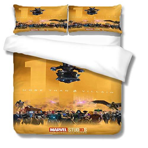 SL-YBB Marvel-Bettbezug, Kinder-Bettbezug, Mikrofaser, Digitaldruck-Animations-Bettbezug, 3D Stil (M01, 200 * 200cm+80 * 80cm*2)