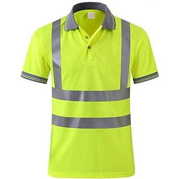 OWSOO Camiseta de Trabajo Hombre Reflectante Alto Visible Camisa de Seguridad Respirable: Amazon.es: Bricolaje y herramientas