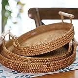 QZH Cesta de Pan para Servir - tazón de Fruta Hecha a Mano para la Cocina - Diseño Multifuncional y Robusto - Ideal para Almacenamiento, decoración,3 pcs Set