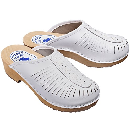 ESTRO Zuecos De Madera para Mujer Calzado Sanitario De Trabajo CDL01 (38 EU, Blanco, 38)