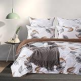 Aisbo - Funda nórdica de 220 x 240 cm, diseño de hojas y blanco, juego de cama de microfibra para 2 personas con cremallera, 2 fundas de almohada de 50 x 70 cm
