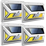 JUSLIT Solar Lights Outdoor, 74 COB LEDs Motion Sensor Light, 2 Modes Wireless Security Wall Lighting W/ 270° Wide Angle, IP65 Waterproof for Front Door, Yard, Garage, Garden, Deck, Porch (4PK)