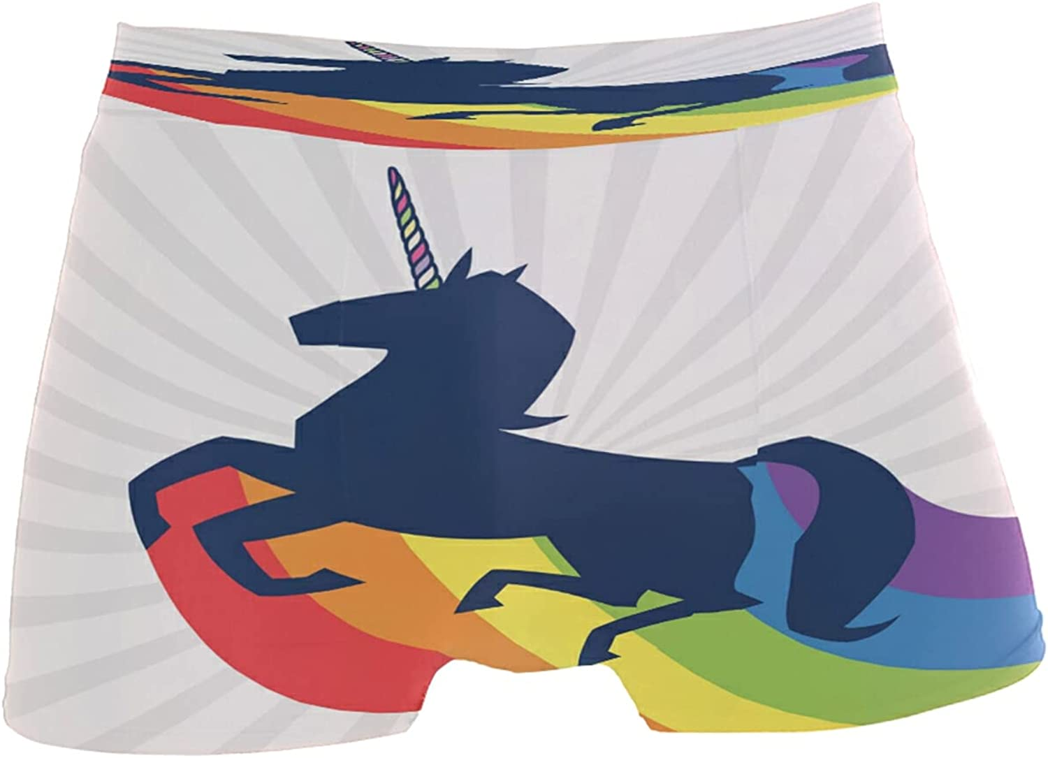 Men's Unicorn Silhouette With Rainbow And Shine Boxer Briefs Underwear Soft Underpants Stretch Breathable