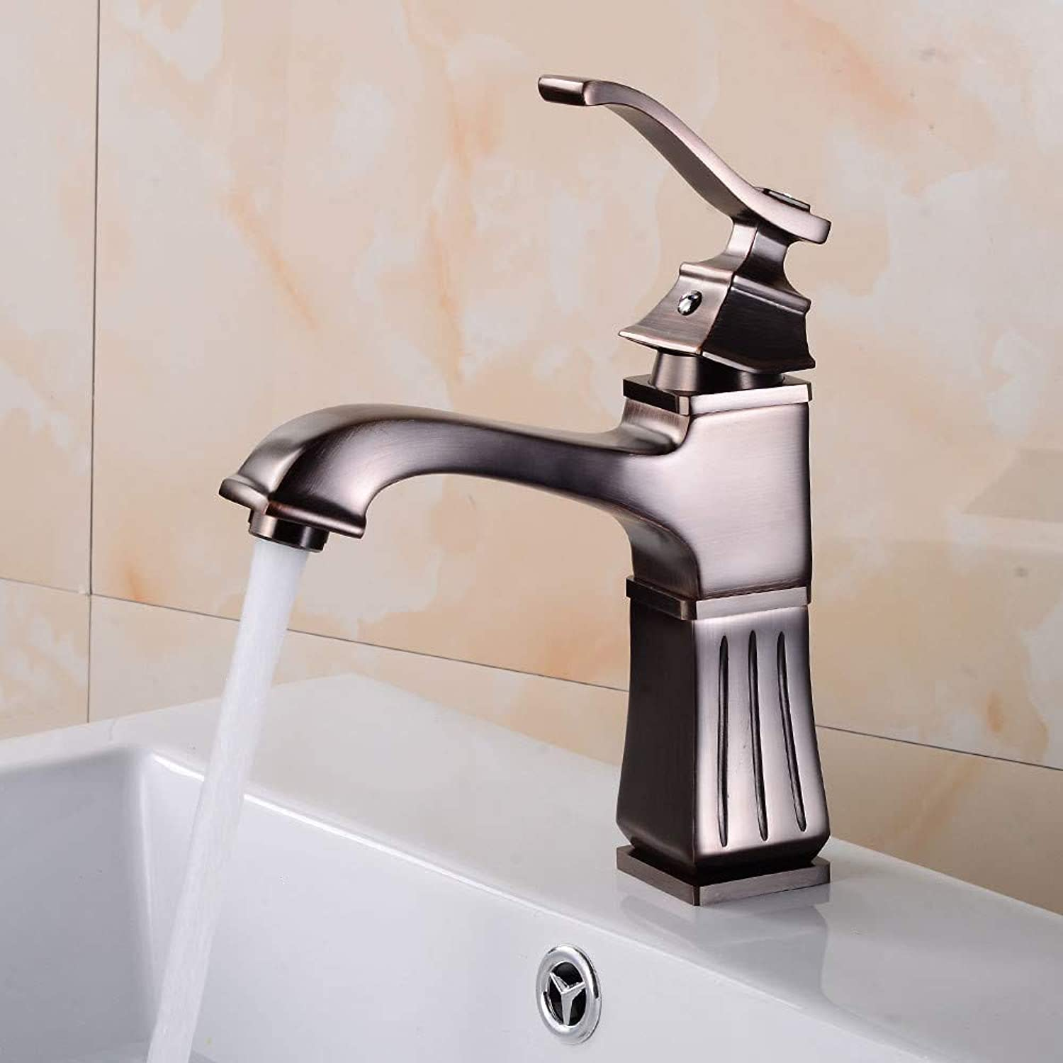 Bathroom Sink Tap Orb Basin Faucet Square Hot and Cold Single Handle Basin Sink Mixer Tap European Bathroom Faucet Single Hole Faucet