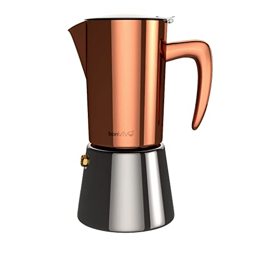 bonVIVO Intenca Stovetop Espresso Maker, Italian Espresso Coffee Maker, Stainless Steel Espresso Maker Machine
