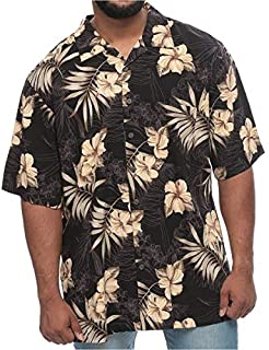 Island Outfitters Big and Tall Tropical Flowers and Palm Short Sleeve Shirt for Men