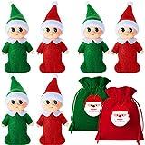 6 Elfos Navideños Pequeños Coloridos Gemelos de Muñeco de Duende con Bolsa de Terciopelo Accesorios de Elfo para Navidad Año Nuevo Calendarios de Adviento y Rellenos de Calcetines de Navidad