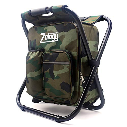 Folding Camping Chair Stool Backpack with Cooler Insulated Picnic Bag, Hiking Camouflage Seat Table Bag Camping Gear for Outdoor Indoor Fishing Travel Beach BBQ