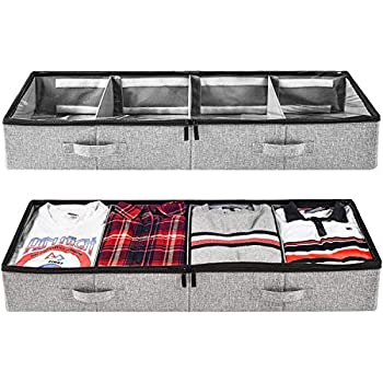Under Bed Clothing Storage with Adjustable Dividers for Sweaters Shoes and Blankets 39x14.5x6in Set of 2