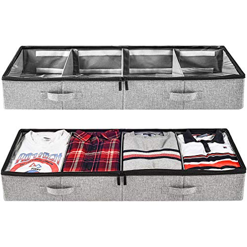 Under Bed Clothing Storage with Adjustable Dividers, for Sweaters, Shoes and Blankets, 39x14.5x6in, Set of 2