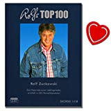 Rolfs Top 100-100 meistgewünschten Lieder der Zuhörer von 225 Konzerten seit 2004 (In der Weihnachtsbäckerei ; Stups, der kleine Osterhase uvm) - Liederbuch mit bunter herzförmiger Notenklammer