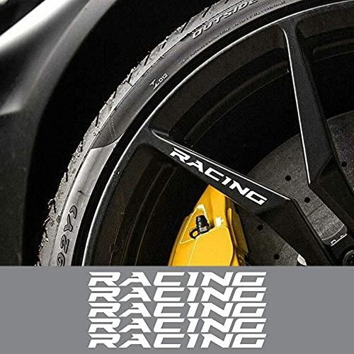YUAAZ 5 uds Pegatinas de Llantas de Ruedas de Coche para Audi A4 A3, para VW Golf 4 Passat B6, para BMW E46 E60, para Ford Focus 2