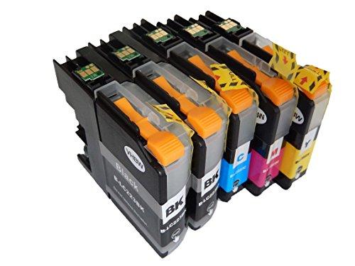 vhbw 5X Druckerpatronen Tintenpatronen Set passend für Brother MFC-J 5320 DW, 5600Serie, 5620 DW, 5625 DW, 5720 DW Ersatz für LC223, LC223BK