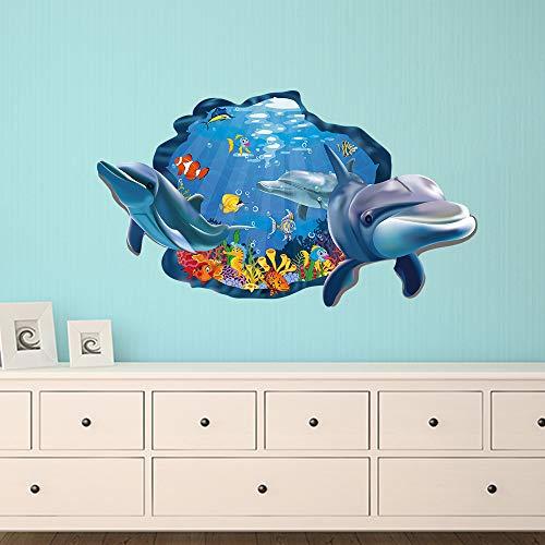 decalmile Pegatinas de Pared Delfín Patrón 3D Vinilos Decorativos Pe