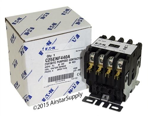 Replacement for GE CR353AD4BA1 - Replaced by Eaton/Cutler Hammer C25ENF440A 50mm DP Contactor, 4-Pole, 40 Amp, 120 VAC Coil Voltage