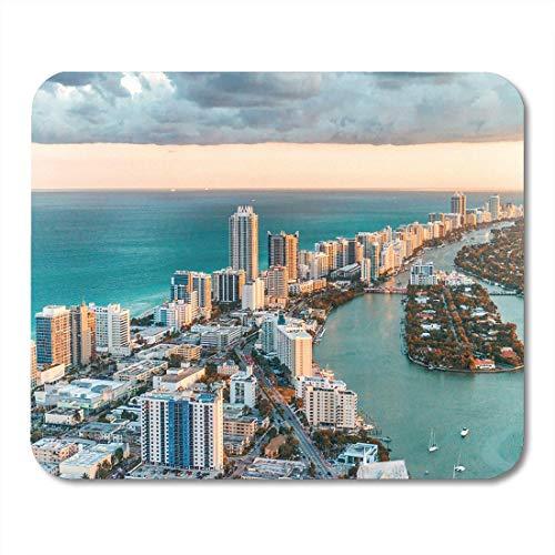 Alfombrillas Para Mouse Blue Skyline Helicopter View Of South Beach Miami Florida Aerial City Alfombrilla Para Mouse Para Notebooks, Computadoras De Escritorio Accesorios Mini Suministros De Oficina A