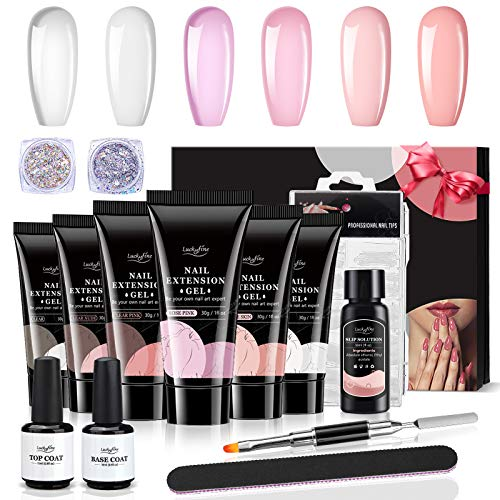Kit Gel de Extensión de Uñas, Luckyfine Polygel Nail Kit 6 x 30ml - Esmalte de Gel de Uñas con Base Coat y Top Coat