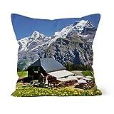 fotobar!style Motivkissen 70 x 70 cm mit Füllung Allmendhubel - Eiger-Mönch-Jungfrau -...