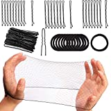 186 Pieces Hair Net Kit Invisible Elastic Edge Mesh 50cm Individual Package,U Shaped Pins,Black Secure Hold Bobby Pins,Non Pull Cotton Hair Ties