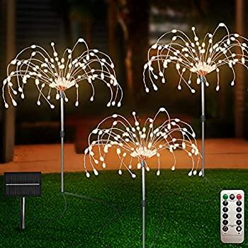Outdoor Solar Garden Lights 3 Pack 120 LED Copper Wire Light with Remote 8 Lighting Modes Decorative Stake Landscape Light DIY Solar Firework Light for Garden Pathway Party Decor  Warm