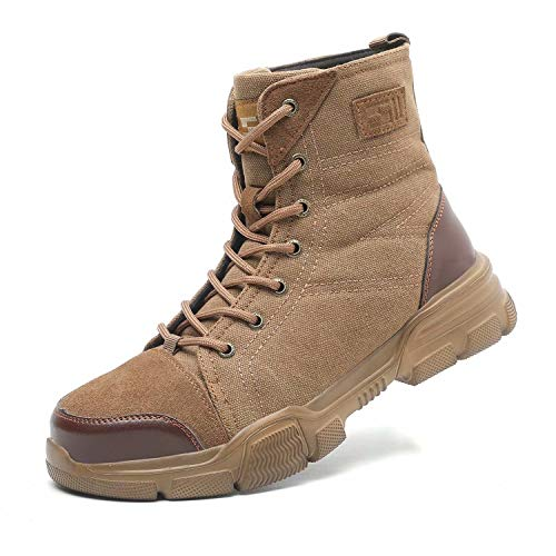 SUADEX Steel Toe Work Boots for Men Women Indestructible Composite Toe Hard Hiking Safety Boots Khaki