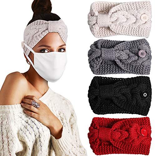 4 Stück Knopf Stirnband Häkeln Turban Stirnbänder mit Knopf Kabel Gestrickt Stirnband Elastisch Geflochtener Kopfwickel Winter Ohrwärmer für Damen Mädchen