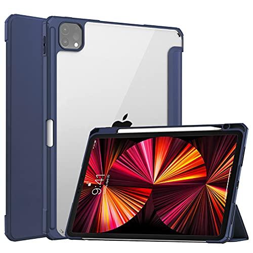 DWaybox Capa para Apple iPad Pro 11 2021 11 polegadas (3ª geração), Smart Slim Trifold Stand Auto Sleep/Wake Capa com suporte para lápis, capa traseira transparente transparente para iPad Pro 11 2021 – Azul escuro