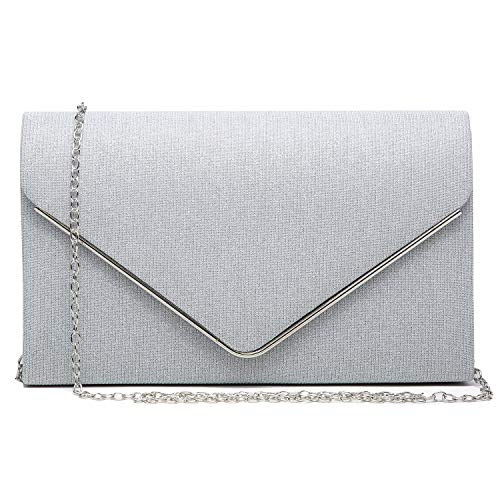 Dasein elegant glitter frosted evening bag / party clutch for women, with various color options. High quality glistening body framed by SILVER-tone hardware with removable gold chain strap. Soft fabric interior with top pouch pocket will fit your pho...