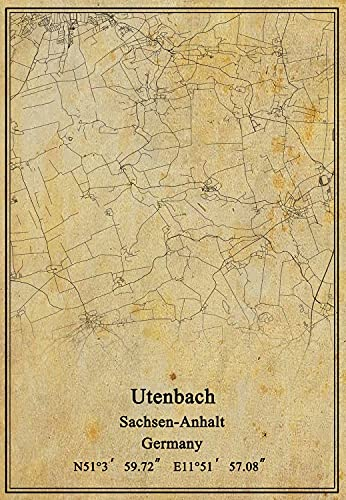 Leinwanddruck, Motiv: Deutschland-Flagge von Utenbach, Sachsen-Anhalt, Vintage-Stil, ungerahmt, Dekoration, Geschenk, 61 x 91 cm