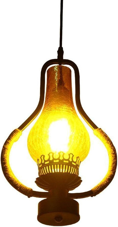 Pointhx American Hemp Corde Kérosène Pendentif Luminaire Lustre Industriel Antique Edison E27 1-lumière Réglable Lampe Suspendue pour Restaurant Bar Café Hall D'entrée Balcon Plafond éclairage
