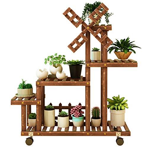 &Macetero Soporte de plantas de madera de cinco capas, soporte de exhibición de bonsai con ruedas, soporte para flores de terraza familiar, se puede utilizar en sala de estar, dormitorio, etc. Macetas