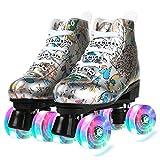 Caseyaria Patines De Cuero De Microfibra Patines Impresos Adultos Doble Línea Patines Mujeres Silver Oro Dos Línea Skilling Shoes Flash PU 4 Ruedas,Plata,38
