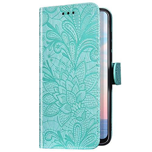 Uposao Kompatibel mit Huawei Y5 2018 Handyhülle Leder Hülle Lustig Mandala Blume Muster Wallet Schutzhülle Flip Case Brieftasche Handytasche Leder Tasche Klapphülle Ständer,Grün