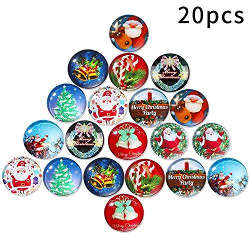 Outus 20 Pezzi Magneti di Natale Vetro Frigorifero Magneti 3D Decorativi Vetro Frigorifero Magneti con Modelli di Natale per Mappa, Lavagna e Frigorifero, 1,18 Pollici